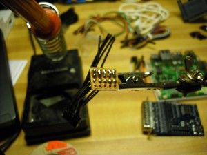 Header with one side soldered